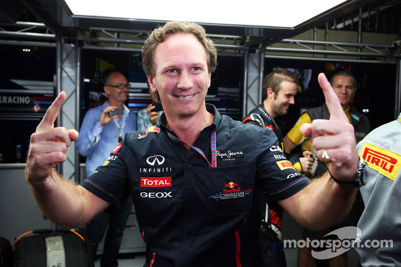 Christian Horner, Red Bull Racing Team Principal celebrates the championship for Sebastian Vettel, Red Bull Racing