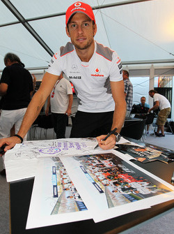 Jenson Button, McLaren Mercedes, logos memorabilia for Great Ormond Street Hospital charity