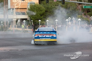 2012 Champion Brad Keselowski does a burnout in the Wynn parking lot