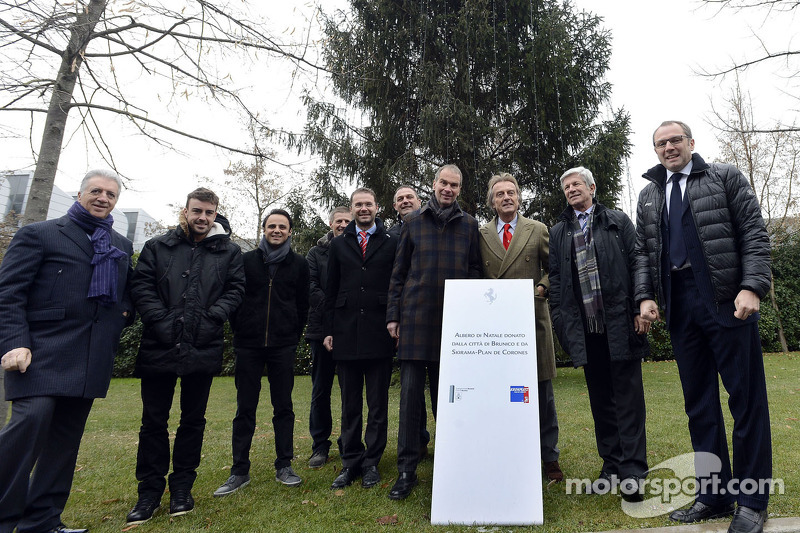 The lighting of the fir tree donated to Ferrari from the town of Brunico