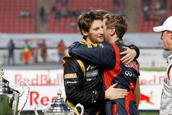 Second place Romain Grosjean and first place Sebastian Vettel
