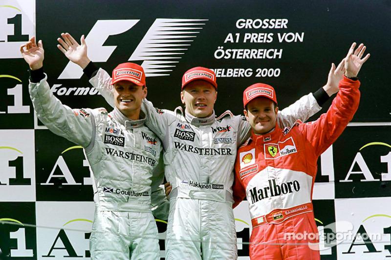 Рубенс Баррикелло, Дэвид Култард и Мика Хаккинен. ГП Австрии, Воскресенье, после гонки.