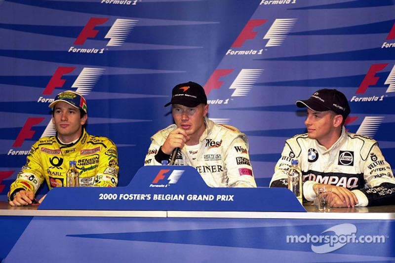 Persconferentie: pole Mika Hakkinen, tweede plaats Jarno Trulli, derde Jenson Button
