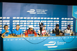 Alain Prost, Jean Paul Driot, Lucas di Grassi, ABT Schaeffler Audi Sport, Felix Rosenqvist, Mahindra Racing, Jean-Eric Vergne, Techeetah, and Jose Maria Lopez, DS Virgin Racing, in the press conference