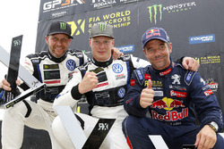 Il vincitore Johan Kristoffersson, Volkswagen Team Sweden, il secondo classificato Petter Solberg, PSRX Volkswagen Sweden VW Polo Gti, il terzo classificato Sébastien Loeb, Team Peugeot Hansen