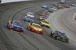 Denny Hamlin, Joe Gibbs Racing Toyota, Joey Logano, Team Penske Ford, and Kurt Busch, Stewart-Haas Racing Ford