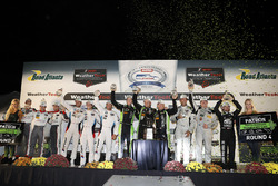 Class podium: P winners Scott Sharp, Ryan Dalziel, Brendon Hartley, Tequila Patrón ESM, PC winners Garett Grist, Tomy Drissi, John Falb, BAR1 Motorsports, GTLM winners Bill Auberlen, Alexander Sims, Kuno Wittmer, BMW Team RLL, GTD winners Connor de Phillippi, Christopher Mies, Sheldon van der Linde, Land-Motorsport