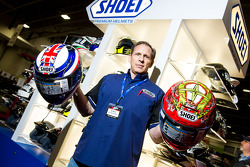 Don Bailey from Shoei Helmet Shows of a couple of versions of the X12 Helmet worn by all of their Racers and Sport bike riders