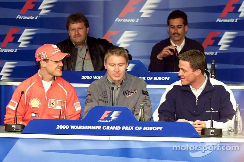 Ральф Шумахер, Михаэль Шумахер и Мика Хаккинен. ГП Европы, Четверг.