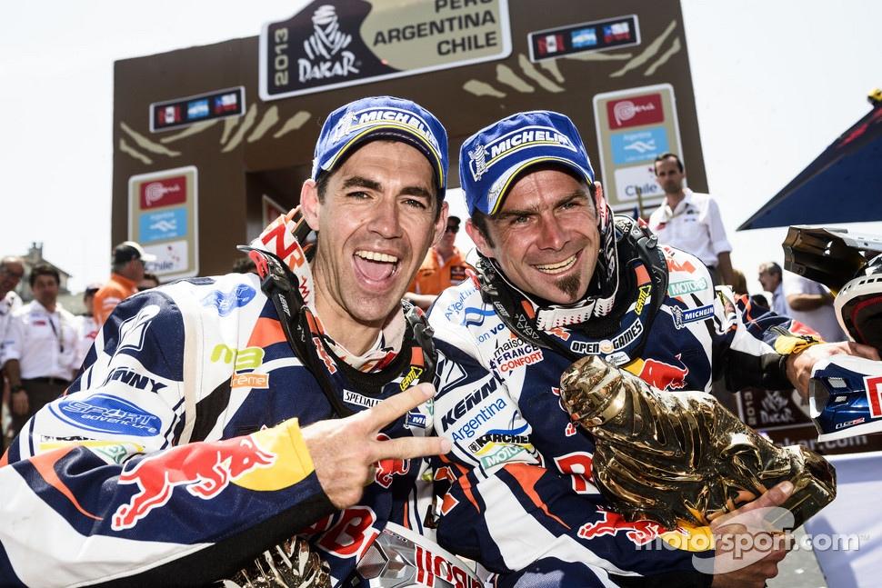 Bike winner Cyril Despres and second place Ruben Faria