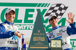 DP victory lane: class and overall winners Memo Rojas and Scott Pruett celebrate