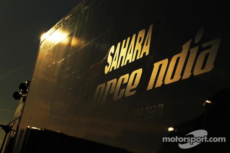Sahara Force India F1 Team trucks in the sunset
