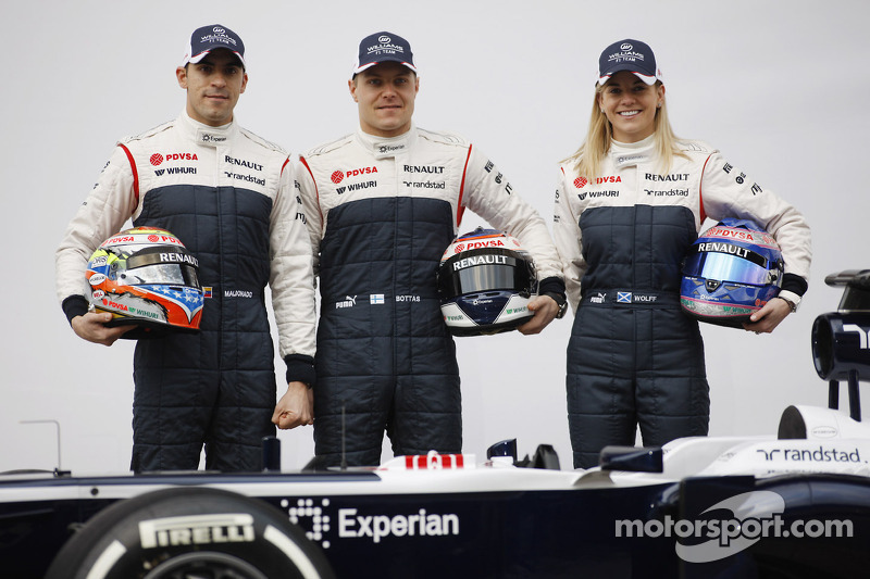 Pastor Maldonado, Williams com parceiro Valtteri Bottas, Williams e Susie Wolff, Williams piloto de desenvolvimento