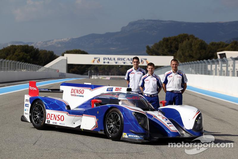 Sebastien Buemi, Anthony Davidson, Stéphane Sarrazin with the Toyota TS030 Hybrid