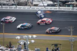 Travis Kvapil, BK Racing Toyota crashes on the last lap