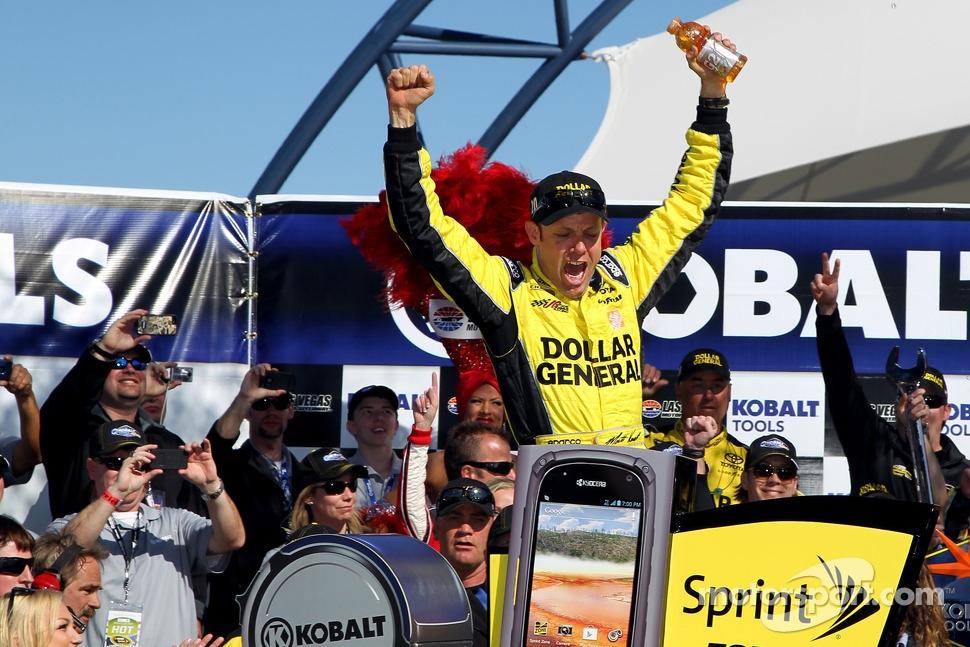 Victory lane: race winner Matt Kenseth, Joe Gibbs Racing Toyota celebrates