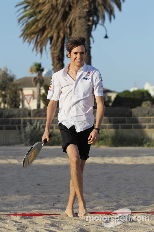 Esteban Gutierrez, Sauber plays beach tennis