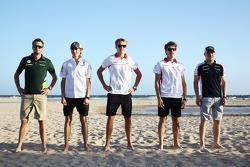 Rookie drivers on the beach, Giedo van der Garde, Caterham F1 Team; Esteban Gutierrez, Sauber; Max Chilton, Marussia F1 Team; Jules Bianchi, Marussia F1 Team; Valtteri Bottas