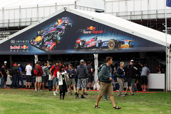 Red Bull Racing stand in the fans' merchandise area
