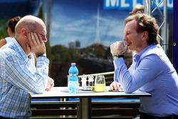 Adrian Newey, Red Bull Racing Chief Technical Officer with Christian Horner, Red Bull Racing Team Principal