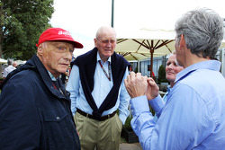 Niki Lauda, Mercedes Non-Executive Chairman with Ron Walker, Chairman of the Australian GP Corporation; Johnny Herbert ; and Damon Hill, Sky Sports Presenter