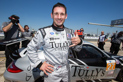 GTC pole winner Andy Lally celebrates