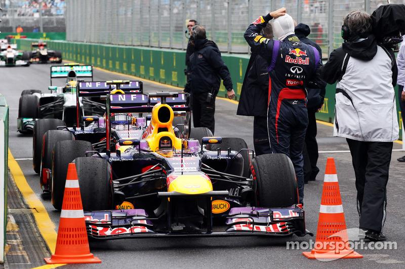 Pole sitter Sebastian Vettel, Red Bull Racing RB9 in parc ferme