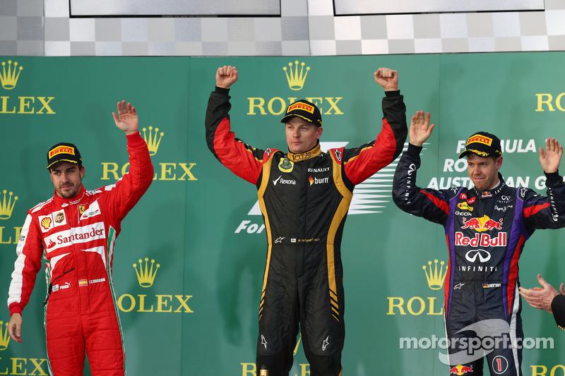 Podio: Fernando Alonso, Kimi Raikkonen, Sebastian VettelA