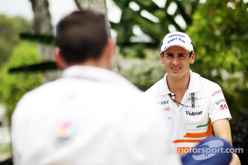 Adrian Sutil, Sahara Force India F1 met Will Buxton, NBC Sports Network-presentator
