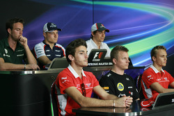 FIA Press Conference: Kimi Raikkonen, Lotus F1 Team; Valtteri Bottas, Williams; Max Chilton, Marussia F1 Team; Giedo van der Garde, Caterham F1 Team; Esteban Gutierrez, Sauber; Jules Bianchi, Marussia F1 Team