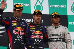 Podium: race winner Sebastian Vettel, Red Bull Racing, second place Mark Webber, Red Bull Racing, third place Lewis Hamilton, Mercedes AMG F1