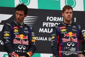 Podium: race winner Sebastian Vettel, Red Bull Racing, second placed Mark Webber, Red Bull Racing