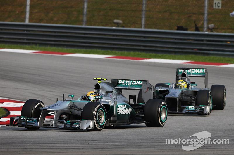 Lewis Hamilton, Mercedes AMG F1 W04 leads team mate Nico Rosberg, Mercedes AMG F1 W04