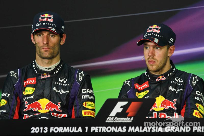 Марк Уэббер и Себастьян Феттель. ГП Малайзии, Воскресенье, после гонки.