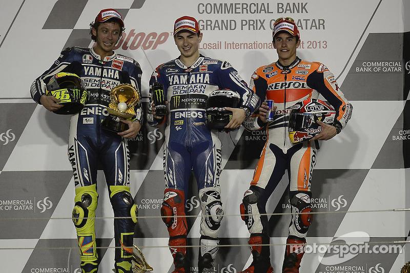 2013: 1. Jorge Lorenzo, 2. Valentino Rossi, 3. Marc Marquez