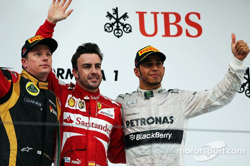 2013 : 1. Fernando Alonso, 2. Kimi Räikkönen, 3. Lewis Hamilton