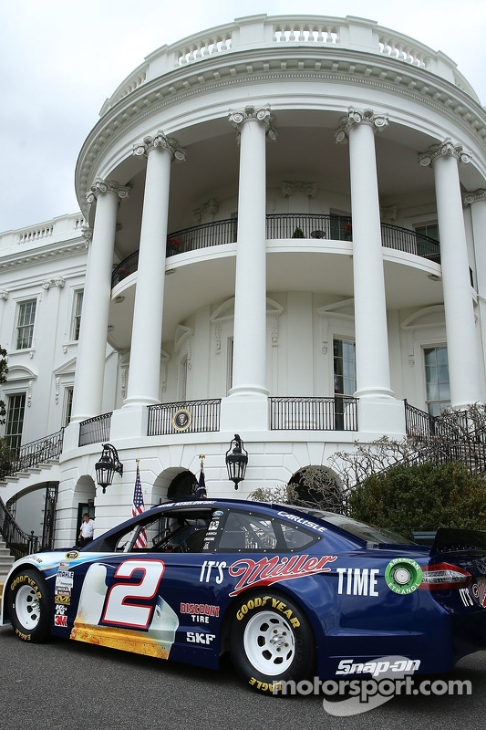 Brad Keselowski's car on display in front of the White House
