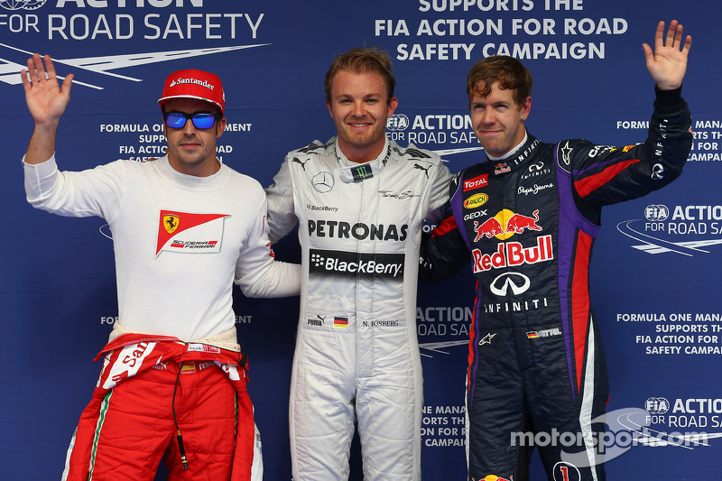 Pole for Nico Rosberg, Mercedes AMG F1 W04, 2nd for Sebastian Vettel, Red Bull Racing and 3rd for Fe