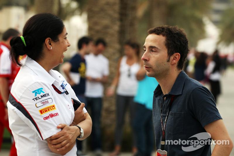 (L naar R): Monisha Kaltenborn, Teambaas Sauber met Nicolas Todt, Manager