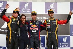 Podium: race winner Sebastian Vettel, Red Bull Racing, second place Kimi Raikkonen, Lotus F1 Team, third place Romain Grosjean, Lotus F1 Team