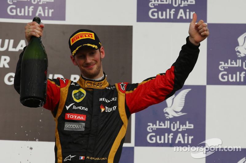 Third place Romain Grosjean, Lotus F1 E21