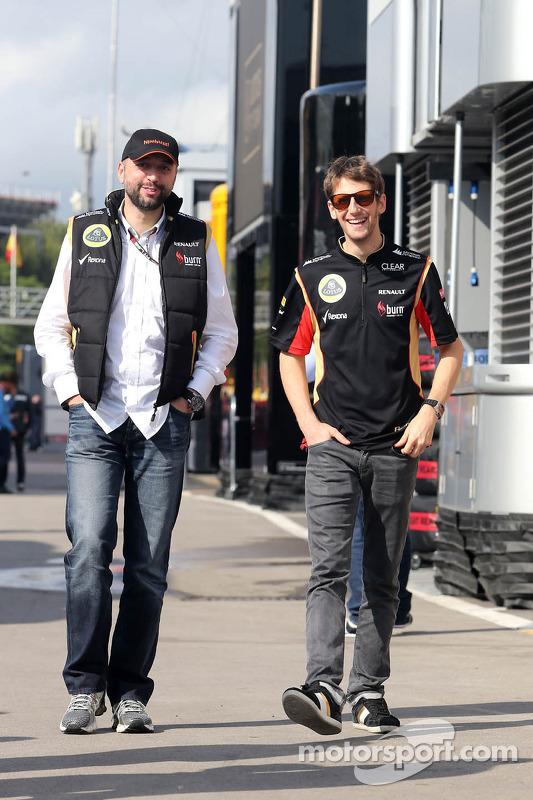 Gerard Lopez, Lotus Renault GP owner and Romain Grosjean, Lotus F1 Team