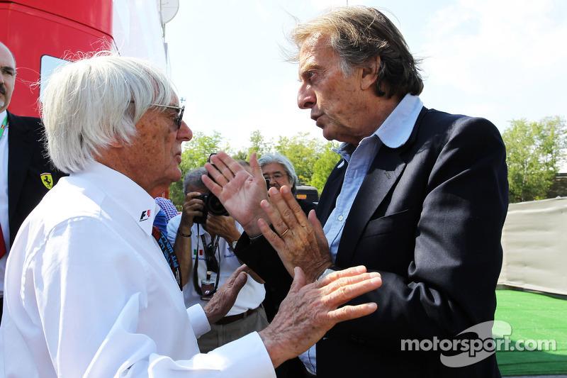 (L naar R): Bernie Ecclestone, CEO Formula One Group, met Luca di Montezemolo, Ferrari President