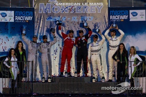 GTC class podium: winners Henrique Cisneros and Nick Tandy, second place Andy Lally and Patrick Dempsey, third place Cooper MacNeil and Jeroen Bleekemolen