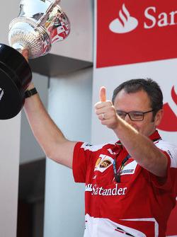 Stefano Domenicali, Ferrari General Director celebrates on the podium