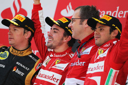 The podium, Lotus F1 Team, second; Fernando Alonso, Ferrari, race winner; Stefano Domenicali, Ferrari General Director; Felipe Massa, Ferrari, third