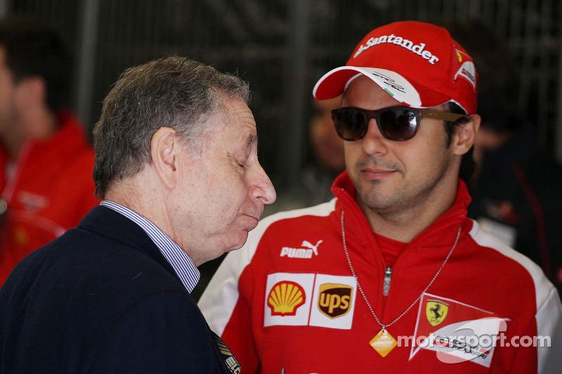(L naar R): Jean Todt, FIA President met Felipe Massa, Ferrari