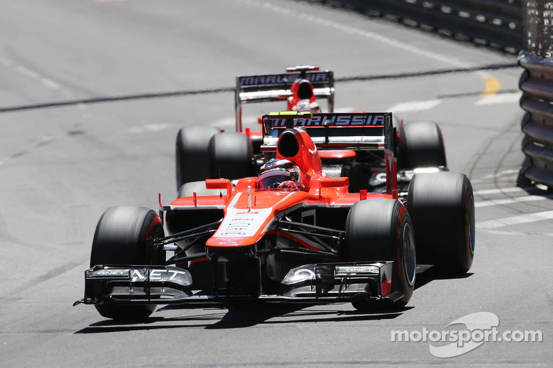 Max Chilton, Marussia F1 Team MR02 leads Jules Bianchi, Marussia F1 Team MR02