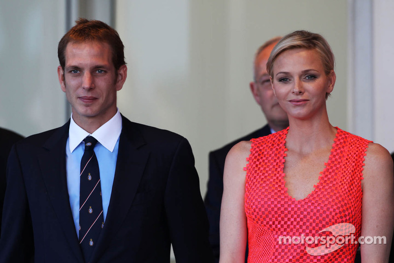 Princess Charlene of Monaco, (Right) on the podium