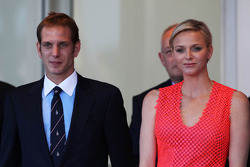 Princess Charlene of Monaco, (Right) on the podium